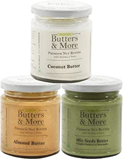 Butters & More Immunity Boosting Vegan Nut Butter Combo of 3 X 200G (Mix Seed Butter + All Natural Almond Butter + All Nat...