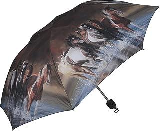 Compact Folding Horse Umbrella, Brown, 42-Inch