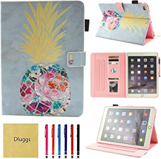 iPad Air 2 Case, iPad Air Case, iPad 9.7 2017/2018 Case, Dluggs PU Leather Folio Smart Cover with Auto Sleep/Wake Function for Apple 9.7 Inch Tablet iPad 6th / 5th Gen, iPad Air 1/2, Pineapple