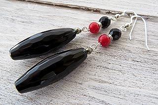 Orecchini in argento 925 con onice nero e corallo rosso, pendenti lunghi, gioielli pietre dure, bijoux contemporanei, rega...