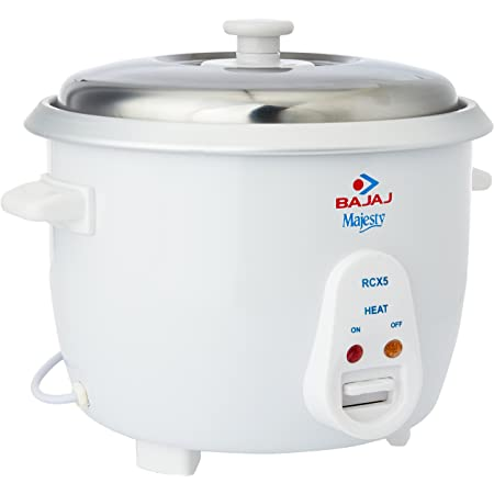 Bajaj Majesty New RCX 5 Multifunction Rice Cooker with 5 Years Warranty on Heating Coil, 1.8L, 550W, White