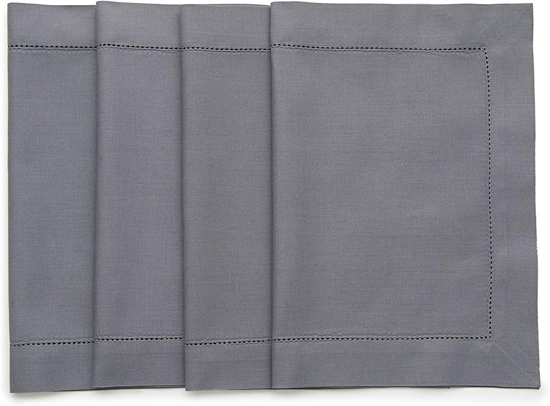 Solino Home Hemstitch Cotton Linen Placemats 14 X 19 Inch Set Of 4 Natural Fabric Machine Washable Placemats Handcrafted With Mitered Corners Grey