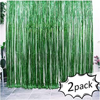 Iridescent Foil Fringe Curtains Jungle Theme Party Supplies Birthday Wedding Party Window Door Decorations Fun Photo Booth Backdeop Props(2 packs, (W)3.28*(H)6.56 Ft, Green)