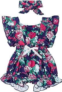 Newborn Baby Girl Floral Bodysuit Toddler Flutter Sleeve Romper Jumpsuit Outfit+Headband