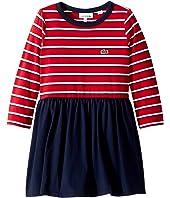 Lacoste Kids Long Sleeve Stripe Peplum Dress (Toddler/Little Kids/Big Kids)