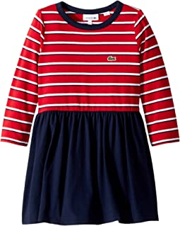 Lacoste Kids - Long Sleeve Stripe Peplum Dress (Toddler/Little Kids/Big Kids)