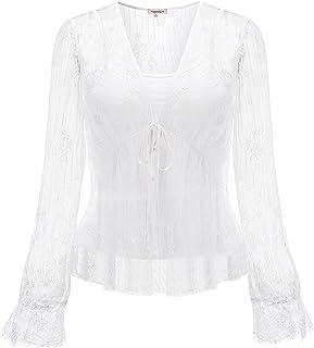 076b36f43cc6f6 Naturally99 Women's Lace Mesh V-Neck Gardigan Blouse +with Sleeveless  Premium Rayon Jersey Camisol