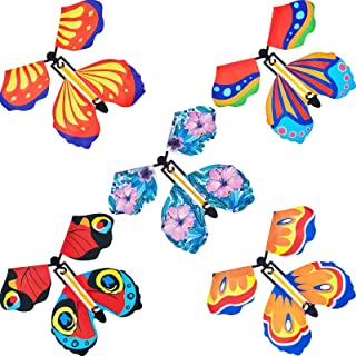 15 Pieces Magic Fairy Flying Butterfly Rubber Band Powered Wind up Butterfly Toy for Surprise Gift or Party Playing (Class...