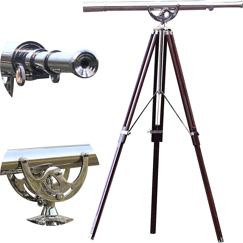 Maritime Nautical Floor Standing Brass Telescope Vintage Anchor Master Nickel Finish 65