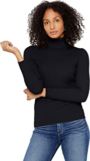 Ribbed Turtleneck Sweater 100% Pure Cashmere Long Sleeve Pullover for Women