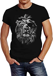 Neverless Cooles Herren T-Shirt Löwe Print Aufdruck Motiv Slim Fit