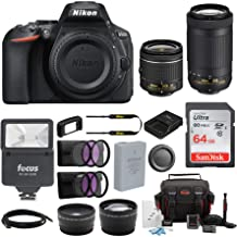 Nikon D5600 24.2MP DSLR Camera with 18-55mm and 70-300mm Lenses Bundled with 64GB SD Card, Filters, and Accessories (9 Items)