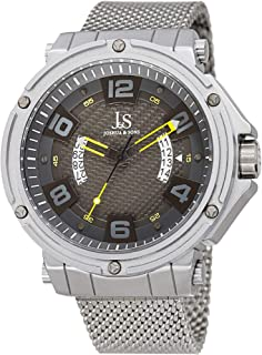 Joshua & Sons Designer Men's Watch – Stainless Steel Mesh Bracelet Band - Large Round Case with Matte Bezel and Exposed Double Date Wheel