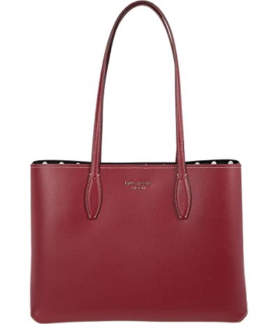 Kate Spade New York All Day Lady Dot Large Tote (Red Currant) Tote Handbags