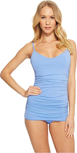 Vince Camuto - Riviera Solids Shirred Swimdress w/ Removable Soft Cups