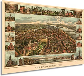 HISTORIX Vintage 1855 Harrisburg Pennsylvania Map Poster - 24x36 Inch Vintage Harrisburg PA Map Wall Art - Old Harrisburg ...
