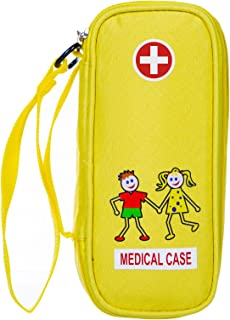 Kid's EpiPen Carrying Medical Case – Yellow Insulated Portable Bag with Zipper – For 2 EpiPen's, Auvi-Q, Asthma Inhaler, Eye Drops, Allergy Medicine Essentials