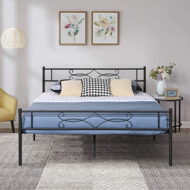 VECELO Black Queen Metal Bed Footboard Super Luxury special price Frame Pr with Headboard