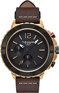 Vestal Yacht Stainless Steel Japanese-Quartz Watch with Leather Strap, Black, 20 (Model: YAT44C06.BK)