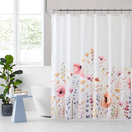 KOMFIER Floral Shower Curtain, Multi Color Flowers and Leaves Boho Bath Curtain for Modern Bathroom, Rust-Resistant Metal Grommets, Waterproof Polyester Fabric (72x72 inch)