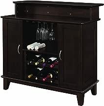 2-door Bar Unit with Wine and Stemware Storage Cappuccino