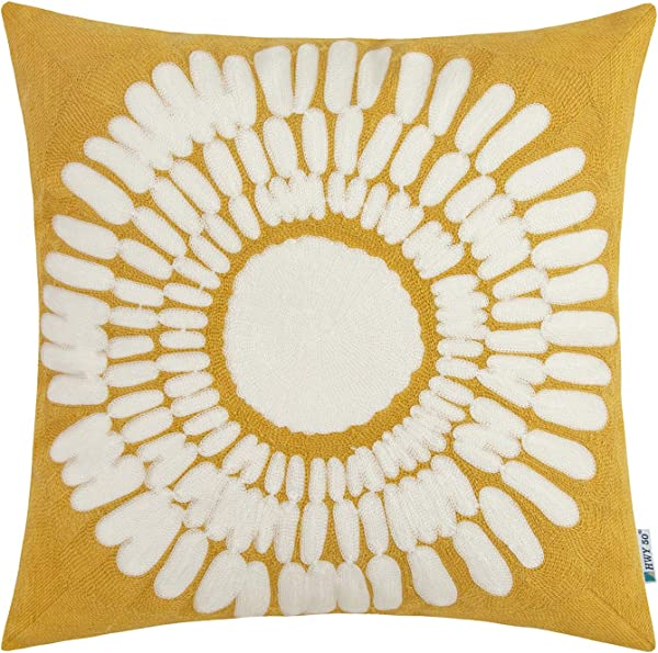HWY 50 Yellow Embroidered Decorative Throw Pillow Covers Cushion Cases For Couch Sofa Living Room Modern Farmhouse Big Sunflower Floral 18 X 18 Inch 1 Piece