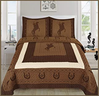 Elegant Home Western Texas Star Stars Horse Horses Riding Cowboy Design 3 Piece Coverlet Bedspread Quilt # Cowboy (Brown/Chocolate, Full/Queen Size)