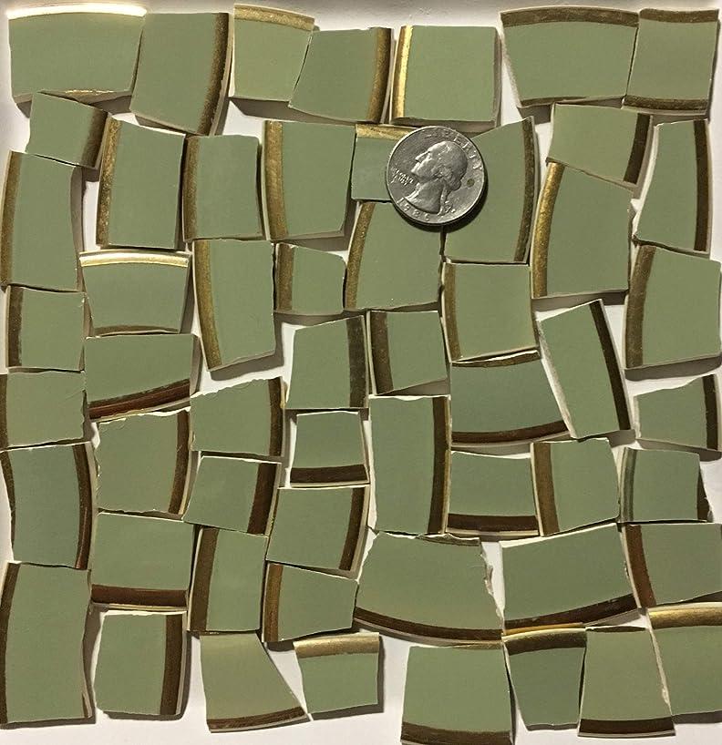 Mosaic Art & Craft Supply ~ Vintage Sage Green w/Gold Rim Tiles (B132)