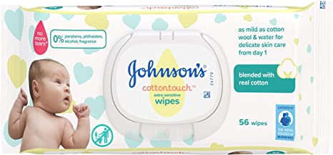 JOHNSON'S Cottontouch Extra Sensitive Wipes 56 ct – Blended with Real Cotton – pH Balanced for Delicate Skin