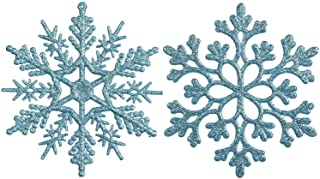 Sea Team Plastic Christmas Glitter Snowflake Ornaments Christmas Tree Decorations, 4-inch, Set of 36, Babyblue