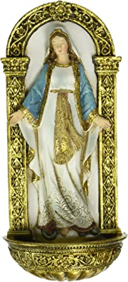 Heavenly Protectors Joseph's Studio by Roman Exclusive Our Lady of Grace Holy Water Font Figurine, 7.25-Inch
