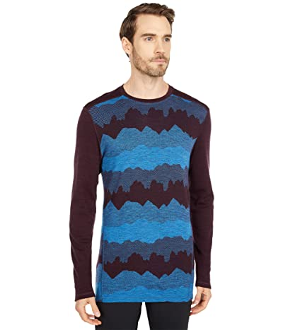 Smartwool Merino 250 Base Layer Pattern Crew (Woodsmoke Mountain Scape) Men