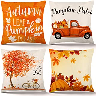 ZJHAI Fall Pillow Covers 18×18 Inch Set of 4 Autumn Pumpkin Pillow Covers Holiday Rustic Linen Pillow Case for Sofa Couch Farmhouse Thanksgiving Fall Decorations Throw Pillow Covers