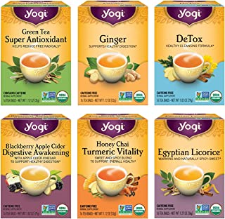Yogi Tea - Digestion and Detox Tea Variety Pack Sampler (6 Pack) - 96 Tea Bags