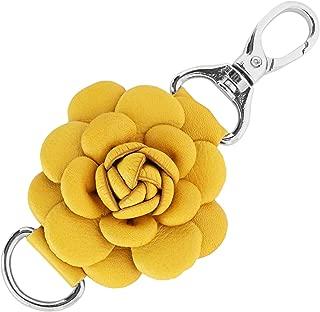 Genuine Leather Handmade Rose Charm, Pom Pom Keychain, Keyring for Tassel Bags Purse Backpack