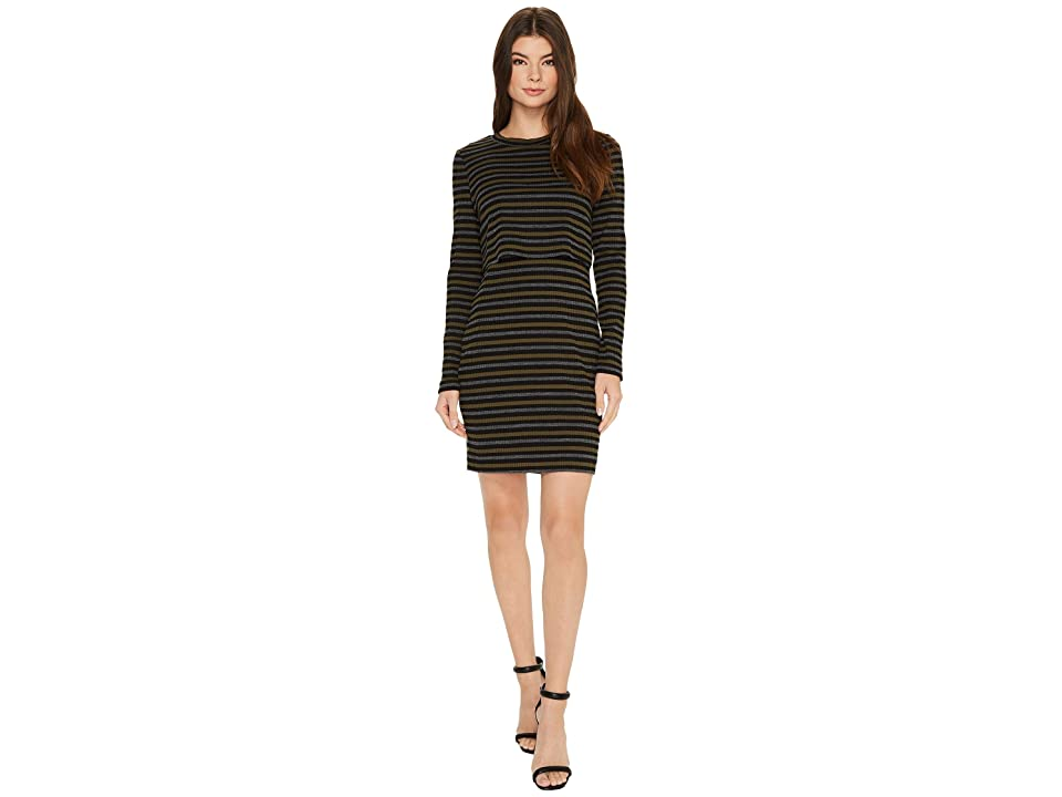 Nicole Miller Twofer Vintage Striped Dress (Olive/Multi) Women