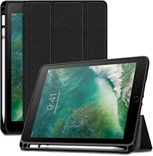 Infiland iPad 9.7 2018 Case, Tri-Fold Smart Cover with Apple Pencil Holder Compatible with Apple iPad 6th Gen 9.7 Inch 2018 Released (Auto Wake/Sleep), Black