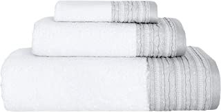 Garen 3-Piece Turkish Cotton Towel Set With Decorative Dobby - Ultra Soft Texture With Premium Absorbency - Perfect For Daily Use Or Home Decor (600 GSM) (Sterling Silver)