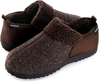 ULTRAIDEAS Men's Cozy Memory Foam Slippers with Warm Fleece Lining, Wool-Like Blend Micro Suede House Shoes with Anti-Slip Indoor Outdoor Rubber Sole
