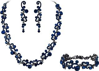 Women's Austrian Crystal Elegant Wedding Flower Wave Necklace Earrings Bracelet Set