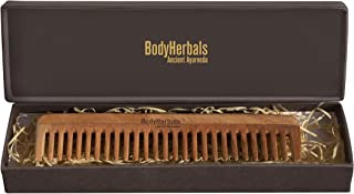 BodyHerbals Dressing Comb, Anti-Static Wide Tooth, 100% Neem Wood, Hand Made with Design in Gift box (Cream)