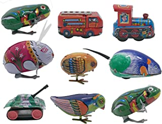 3pdt 9 pcs Box Collection of Retro Vintage Wind-up Metal tin Toys, Cool Crazy Gift, Frog, Rabbit, Bird, Chick, Truck, Locomotive, Mouse, Tank