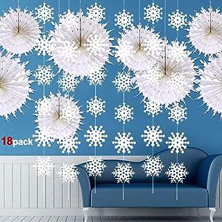 Howaf Copo De Nieve Decoración Navidad Colgando Guirnalda y Grande Copo De Nieve Blanco Ventiladores de Papel de Seda para Frozen, Navidad de Fiesta Decoraciones hogar