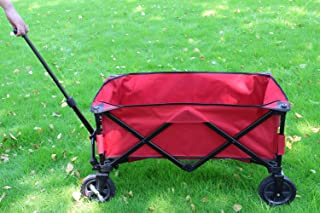 PATIO WATCHER Collapsible Folding Wagon Utility Wagon Cart Outdoor Garden Camping Wagon Sports Wagon Heavy Duty, Red