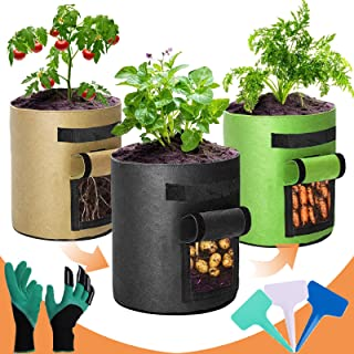 Grow Bags 7 Gallon, Two Windows, 3 Pack Breathable Potato Grow Bags with Handles and Flap, Thickened Fabric, Heavy Duty Pl...
