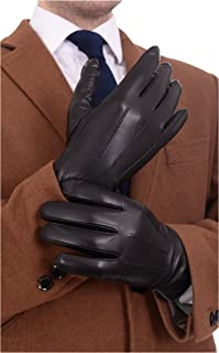 Ariston Mens Solid Black Lambskin Leather Driving Gloves With Cashmere Lining