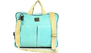 Canvas & Awl Burlap (Jute) with Genuine Leather Trim Blue Messenger Bag