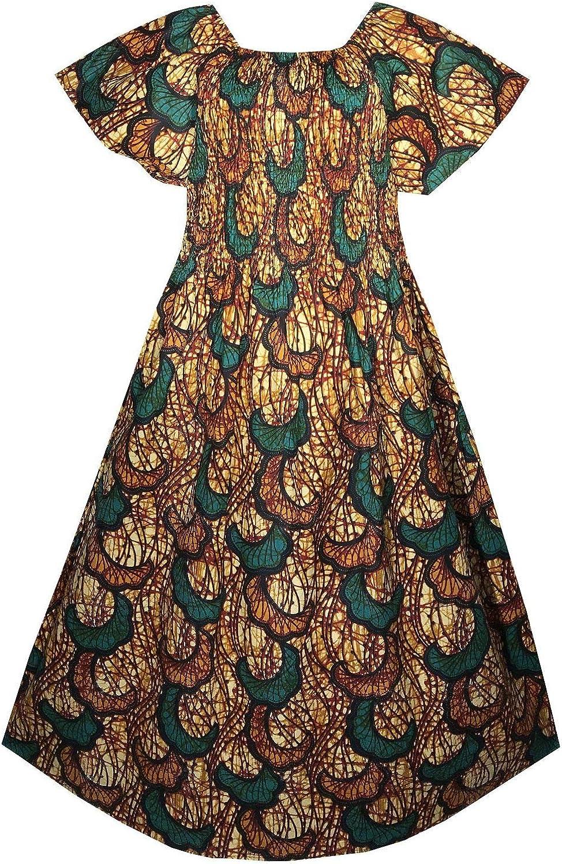 Decoraapparel Women Maxi Wax Dress African Traditional Fabric Ankara Dashiki Kent Caftan