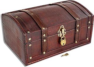 comprar comparacion Brynnberg Caja de Madera Flanders 30x20x15cm - Cofre del Tesoro Pirata de Estilo Vintage - Hecha a Mano - Diseño Retro - j...