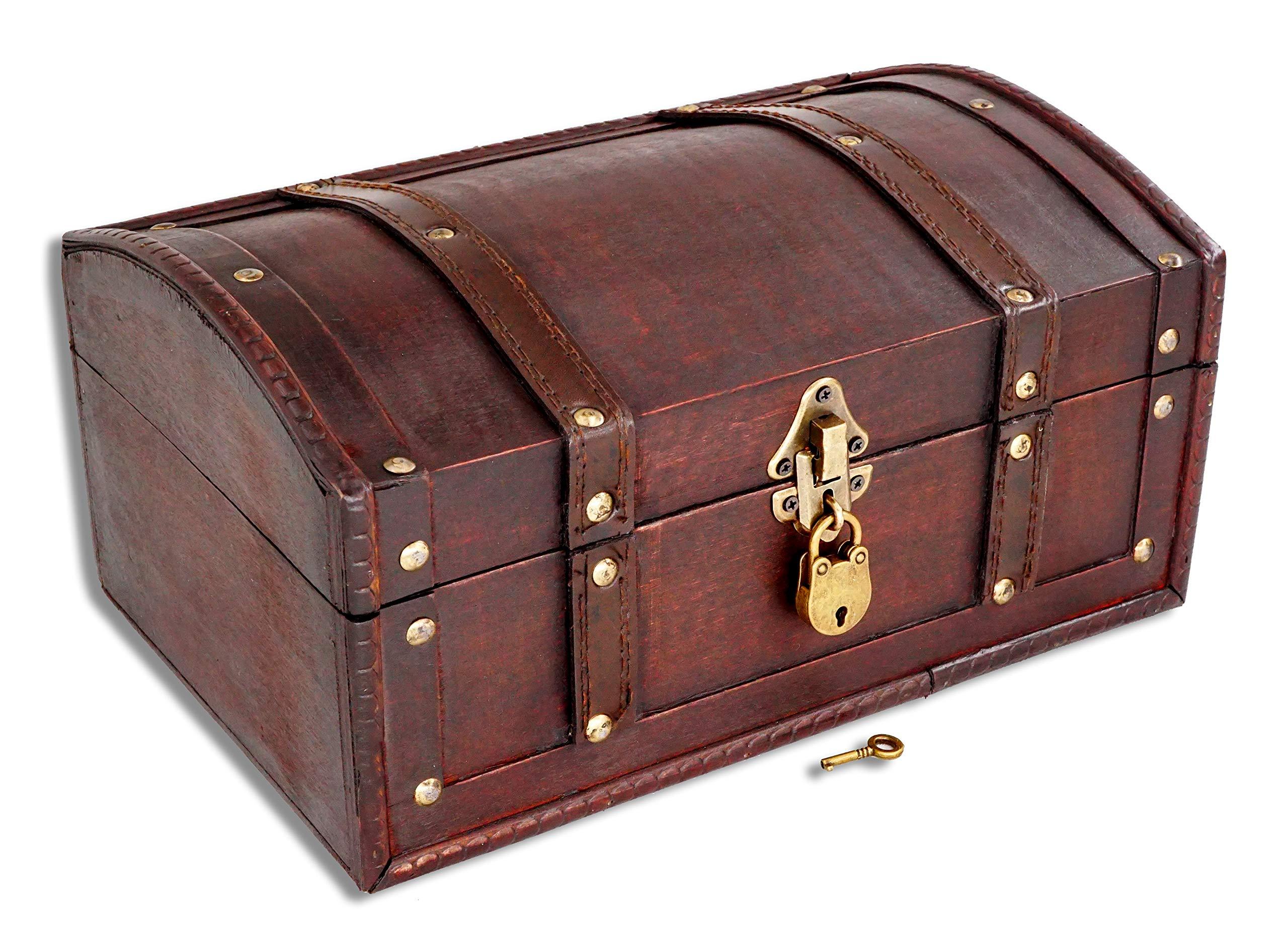 Brynnberg Caja de Madera Flanders 30x20x15cm - Cofre del Tesoro Pirata de Estilo Vintage - Hecha a Mano - Diseño Retro - joyero - con candado: Amazon.es: Hogar